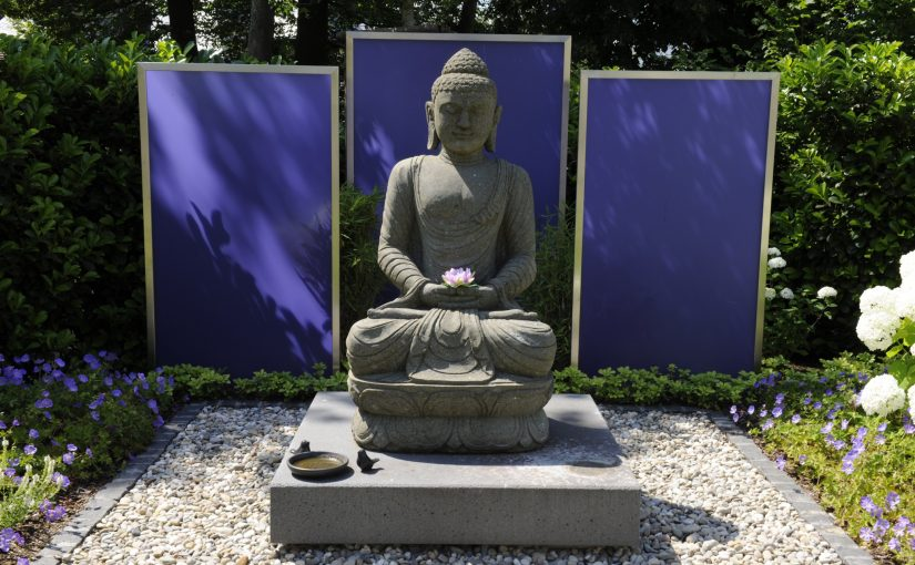 Neugestaltung Garten Feng Shui, Gartendekoration Budda Statue