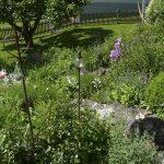 Umgestaltung Cottage Garten im Westerwald. Gartenweg aus Naturstein und blühende Staudenbeete. Gartenplanung Blum und Scherer.