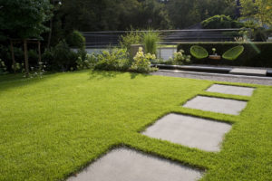 Rinnit Trittplatten auf Rasenfläche zum Wasserbecken