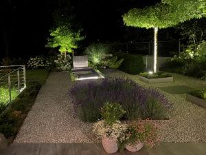 Moderner Garten, Beleuchtung Dachplatane