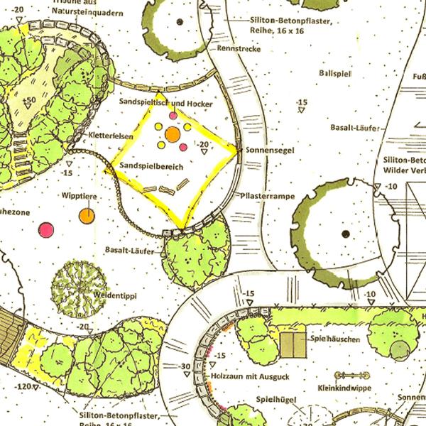 Entwurfsplan Aussenanlage Kindergarten Kunterbunt