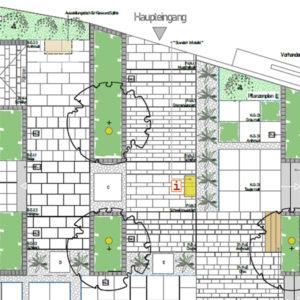 Entwurfsplan Aussenanlage für Freiraumplanung